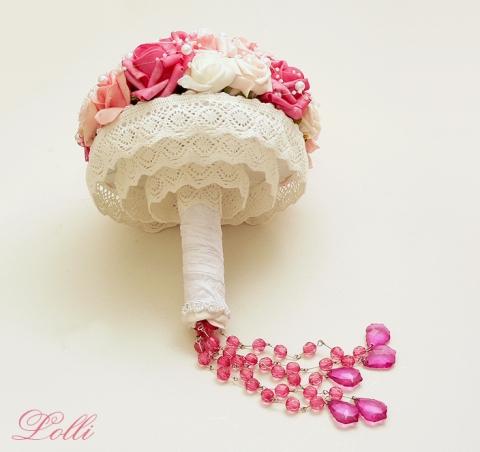 Lolli - Pink - rózsaszín csipkeszoknyás menyasszonyi csokor, Meska