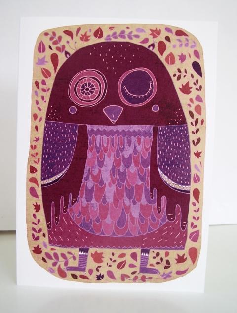 Schalle - Lila bagoly képeslap, Meska
