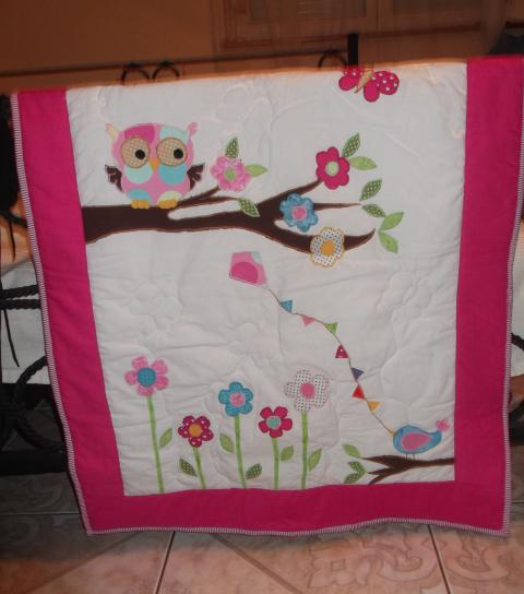 Szilla - Baglyos,virágos babatakaró, Meska