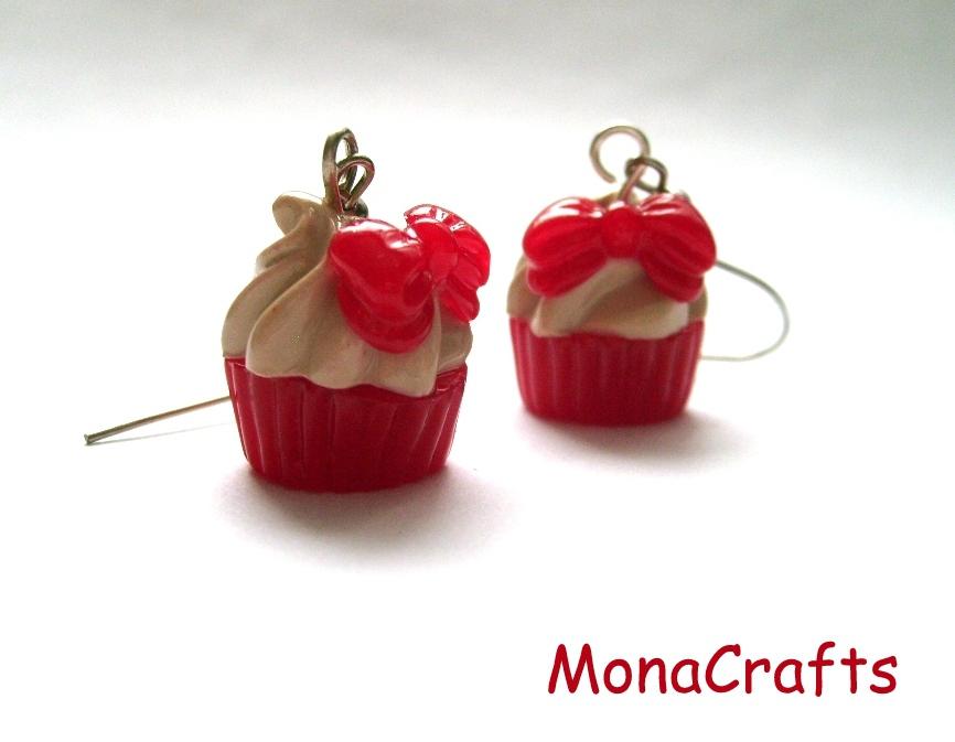 MonaCrafts - Rubinpiros masnis muffin fülbevaló, Meska