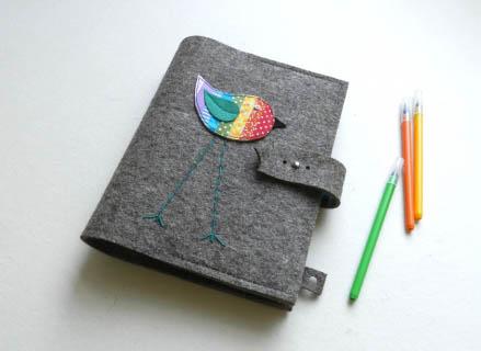Golfi10 - Szivárvány madaras notesz, tablet, irattartó, Meska