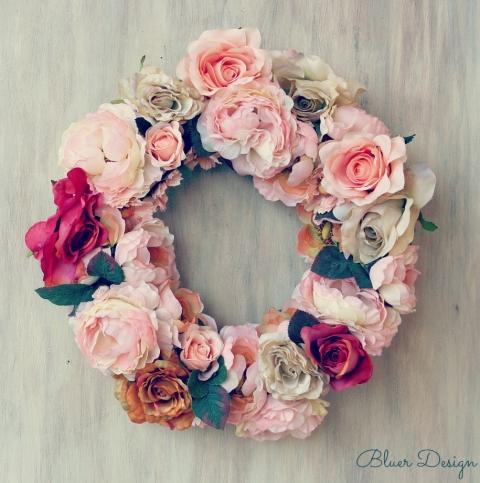 Bluer - Vintage rózsák ajtódísz, Meska