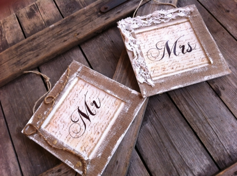 NoaNoaStyle - MR és MRS vintage esküvői feliratok, Meska