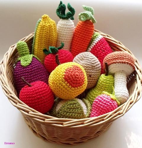 horgolt zöldségkosár