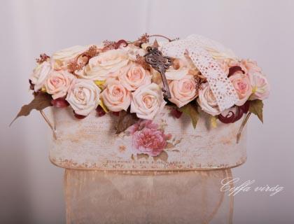 Ceffa - Vintage barackszín rózsás asztaldísz, Meska