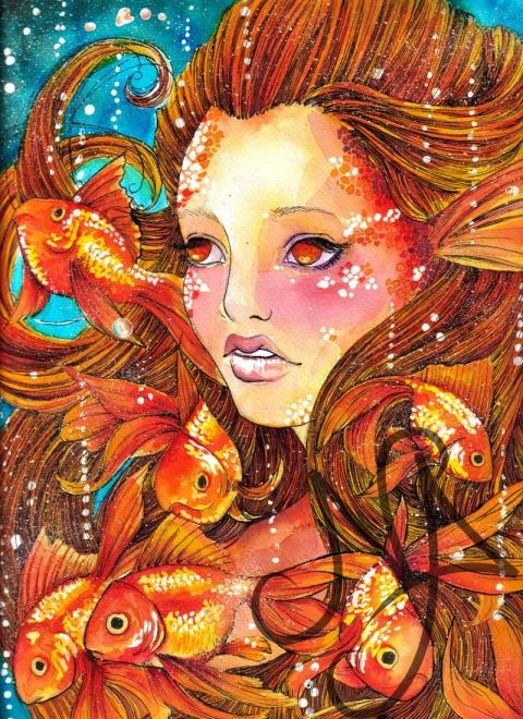 Mialaia - Aranyhal-akvarell festmény, Meska