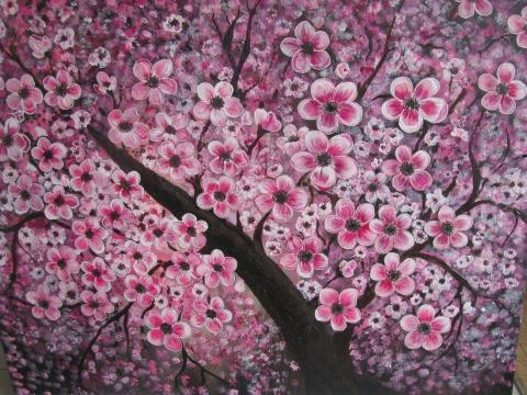Mangomargitka - Tavasz-akril festmény, Meska