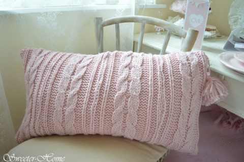 Sweeterhome - Rózsszín kötött párna, Meska