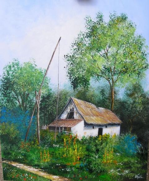 Vajdaaliz - Elhagyott tanya-akril festmény, Meska