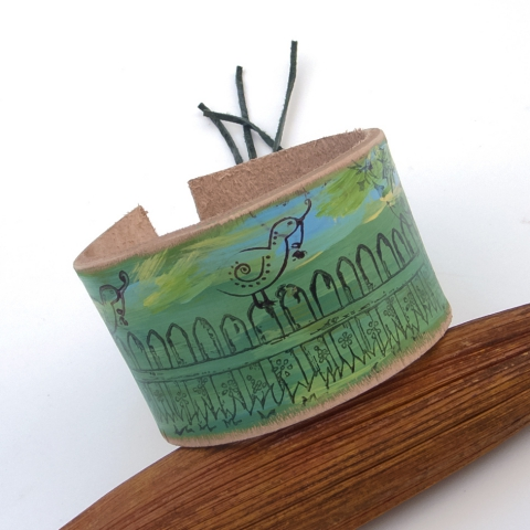 jullyet- Festett, valódi bőr karkötő, Harmónia karkötő, Ékszer, óra, Karkötő, 4 cm széles, kézzel festett marhabőr karkötő, Meska