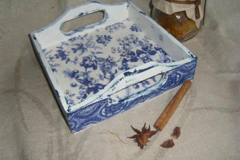 Garievi - Angol kék gyümölcsös tálca, Meska