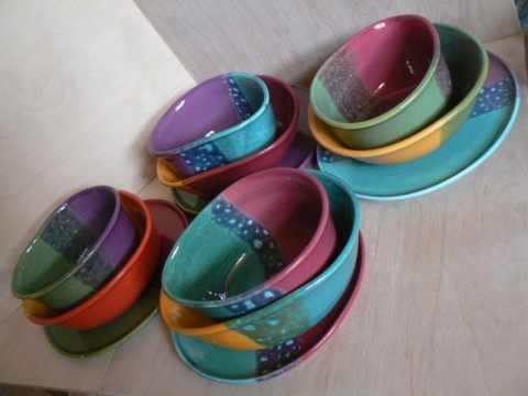 Gabigobre - Vidám részeges kerámia tányér készlet, Meska