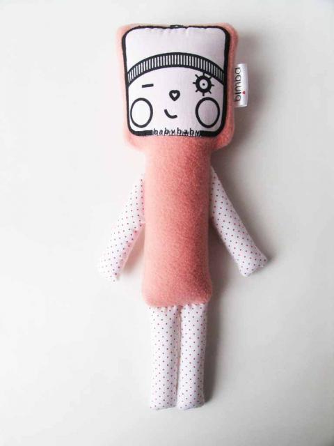 kacsintós alvós baba, Játék, Készségfejlesztő játék, Plüssállat, rongyjáték, Kb. 40cm magas baba,puha polár és pamut anyagok társításával jött létre. A minta kézi szita..., Meska