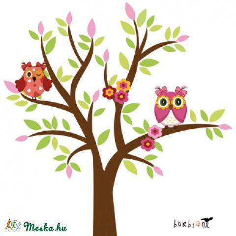 Baglyos fa virágokkal falmatrica szett, Képzőművészet , Dekoráció, Képeslap, album, füzet, Grafika, Egy kislány szobájának dísze lett ez a rózsaszínes falmatrica szett.  Különálló elemeket i..., Meska