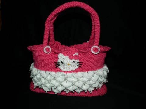 HELLO KITTY - Horgolt táska, Táska, Pamutból horgolt táska: 30x20x12cm ( persze a fül nélkül ) Természetesen más színben és mé..., Meska