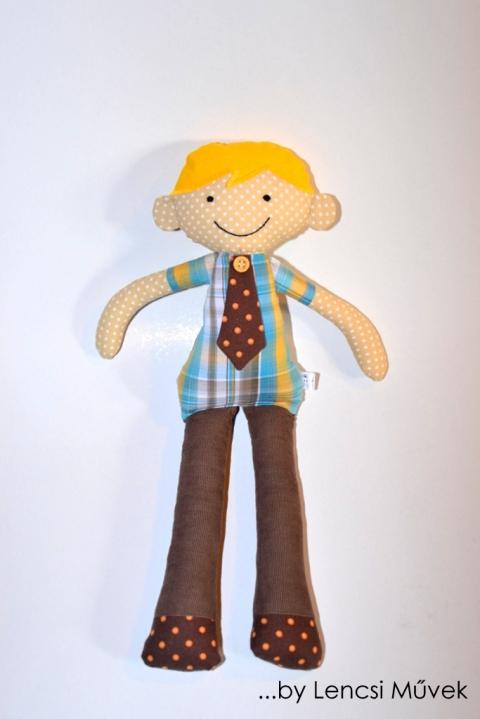 Peti baba, Játék, Plüssállat, rongyjáték, Játékfigura, Peti magassága 40cm. Nadrágja barna kordbársonyból készült, puha pamutvászon baba. Nyakkendő..., Meska