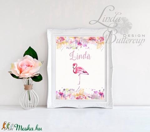 Babaszoba Dekoráció, Flamingó festmény, Virágos kép, virág falikép, állat, madár, Baba, gyerek ...