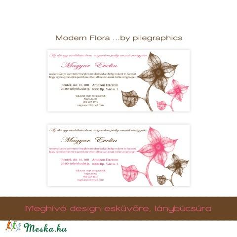 Lánybúcsúra -  Modern Flora  - digitális meghívó design, nyomtatható felbontásban, Képzőművészet, Vegyes technika, Illusztráció, Grafika, Menyasszonyi ruha, Lánybúcsúra - *Modern Flora* - digitális meghívó design, nyomtatható felbontásban.   23,5cm ..., Meska