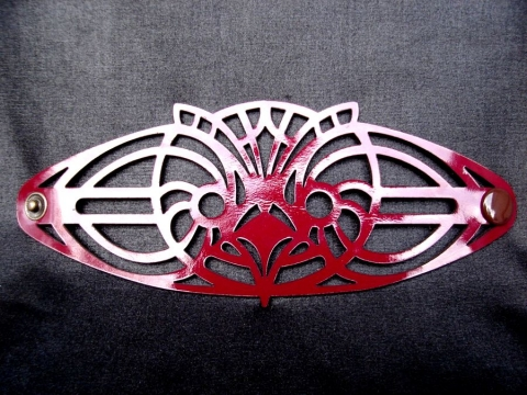 kar\\\\\\\\\\\\\\\'t deco bagoly karkötő, Ékszer, óra, Karkötő, kar\\\\\\\\\\\\\\\'t deco design by Marosi Kriszta. Art deco által inspirált bordó perforált la..., Meska