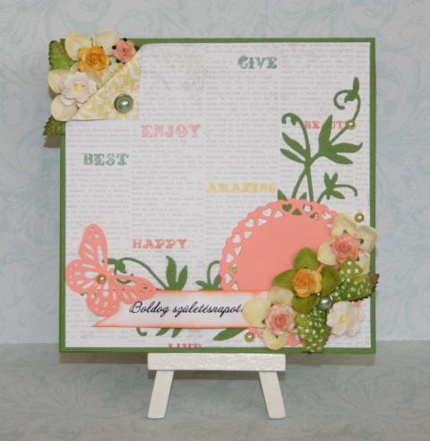 Virágos  születésnapi képeslap , Naptár, képeslap, album, Képeslap, levélpapír, Ajándékkísérő, 15*15 cm méretű virágos képeslap, amit papírvirágokkal, pöttyös szalaggal és gyöngyökkel ..., Meska