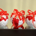 Fehér-piros karácsonyi gömb garnitúra, Dekoráció, Karácsonyi, adventi apróságok, Karácsonyfadísz, Karácsonyi dekoráció, , Meska