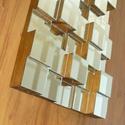 Fa alapú nagy négyzetes 3D tükör dekoráció, Dekoráció, Otthon, lakberendezés, Dísz, Képkeret, tükör, Mindenmás, Famegmunkálás, mérete: 40*80cm masszív, súlya: 10kg    Letisztult minimal design  Egyedi kézműves termék.  Fa alap..., Meska