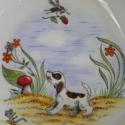 Vidám mesék bölcsiseknek, Baba-mama-gyerek, Konyhafelszerelés, Bögre, csésze, Kerámia, 3 darabból álló porcelán étkészlet a legkisebbeknek. Kész porcelán alapra saját kézzel festettem és ..., Meska