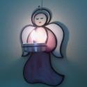 Angyalkás mécsestartó, Otthon, lakberendezés, Gyertya, mécses, gyertyatartó, Üvegművészet, Tiffany technikával, rózsaszín/fehér Spectrum üvegből készült fali mécsestartó. 14 x 8,5 cm méretű...., Meska