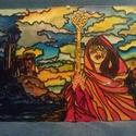 A Varázslónő, Képzőművészet, Festmény, Festmény vegyes technika, Festészet, Festett tárgyak, Kézzel festett A4 méretű üvegfestmény. Ipari festékkel festett, 560 fokon égetett. (Nem kopik, nem ..., Meska
