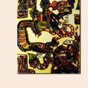 Maya color relief A3, Képzőművészet, Festmény, Festmény vegyes technika, Festészet, Festett tárgyak, Kézzel festett A3 méretű üvegfestmény. Ipari festékkel festett, 560 fokon égetett. (Nem kopik, nem ..., Meska