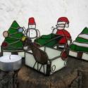 AKCIÓ!-25%Télvárók -karácsonyi mécsestartók-üveg, Dekoráció, Otthon, lakberendezés, Karácsonyi, adventi apróságok, Gyertya, mécses, gyertyatartó, Fémmegmunkálás, Üvegművészet, Megérkezett a szarvas is szánnal,így gondoskodván,hogy időben odaérjenek majd minden otthonba.Fehér..., Meska