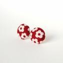 Piros-fehér virágos gombfülbevaló , Ékszer, óra, Fülbevaló, Ékszerkészítés, Bedugós gombfülbevaló virágmintás textilből. Átmérője 1,4 cm. Ezüst színű, nikkelmentes ékszeralkat..., Meska
