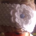 Hófehérke-fejpánt, Baba-mama-gyerek, Ruha, divat, cipő, Gyerekruha, Gyerek (4-10 év), Kötés, Horgolás, Hófehérke Hófehér Red Heart Bella (100% akril)fonal 2 szálából készült így elég vastag,meleg pántoc..., Meska