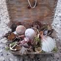 EGYEDI, tengeri dobozka, kagylós dísz, Dekoráció, Otthon, lakberendezés, Dísz, Kaspó, virágtartó, váza, korsó, cserép, Virágkötés, Egyedi kis dobozkát készítettem neked. A fonott dobozkát először néhol kicsit fehérrel megfestettem..., Meska