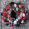 KARÁCSONYI kopogtató, ajtódísz, asztaldísz - KÉSZTERMÉK, Dekoráció, Otthon, lakberendezés, Karácsonyi, adventi apróságok, Ünnepi dekoráció, Virágkötés, Mindenmás, Még tart az esős, szeles ősz, de lassan elérkezik az év legszebb ünnepe, a Karácsony, s vele az adv..., Meska