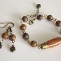 """""""Siena"""" jáspis szett, karkötő, füli, gyöngy, ásvány, tavasz, ősz, ajándék, karácsony, divat, Meska, Ékszer, óra, Fülbevaló, Ékszerszett, Karkötő, Ékszerkészítés, Fémmegmunkálás, Meleg terrakotta-barna színvilágú szettet készítettem 8mm-es golyó és 3cm-es orsó alakú jáspis gyön..., Meska"""