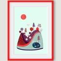 Babaszoba, gyerekszoba dekoráció, lila, piros, bordó domb, A4 illusztráció gyerekeknek, Képzőművészet, Baba-mama-gyerek, Dekoráció, Illusztráció, Fotó, grafika, rajz, illusztráció, Újrahasznosított alapanyagból készült termékek, A Lila, piros, bordó domb, fákkal és házikóval, illusztráció gyerekeknek egy régi tollrajz digitáli..., Meska