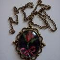 Romantikus gobelines nyaklánc, Ékszer, óra, Ruha, divat, cipő, Nyaklánc, , Meska