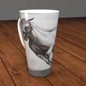 4 dl -es porcelán cappuccino -s bögre, ló festmény a bögrén , Képzőművészet, Konyhafelszerelés, Férfiaknak, Bögre, csésze, Kerámia, Festészet, Ló a képen!  4 dl-es teás,kávés, vagy cappuccino-s porcelán bögrét kínálok eladásra most még BEVEZE..., Meska