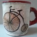 Velociped, Konyhafelszerelés, Bögre, csésze, Festett tárgyak, Kerámia, Bicikliimádóknak készült ez a bögre, hogy minden nap emlékeztessen: biciklizni jóóóóó!  Agyagból ko..., Meska