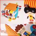 Babakocka szuperhősökkel! , Baba-mama-gyerek, Játék, Készségfejlesztő játék, Varrás, Amerikai textilből készült csörgő babakocka.  Grosgarin szalagokkal díszítve.   Szalagok száma: 16 ..., Meska