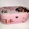 Japán doboz, Otthon, lakberendezés, Ékszer, óra, Tárolóeszköz, Doboz, Festészet, Festett tárgyak, Egyedi tervezés alapján készült, akrilfestékkel és tripla lakkozással. Az oldalán lévő két kanji je..., Meska