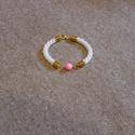 Fehér kötél karkötő, rózsaszín matt gyönggyel, arany színű ékszeralkatrészekkel, Ékszer, óra, Karkötő, , Meska