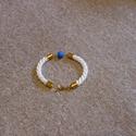 Matt kék gyönggyel díszített divatos kötél karkötő, Ékszer, óra, Karkötő, , Meska