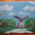 Turul madár Tatabánya festmény, Képzőművészet, Festmény, Festmény vegyes technika, Festészet, Furnér lemezre festett kép a tatabányai Turul emlékműről. Mérete 35X45cm barna fa kerettel belső él..., Meska