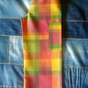 Madraszkockás, piros-sárga-zöld gyereknadrág, 122-es méret, uniszex, Ruha, divat, cipő, Gyerekruha, Gyerek (4-10 év), Varrás, Uniszex gyereknadrág, 122-es méretben, madraszkockásan nyomott mintás vászonból, az ősz színeiben. ..., Meska