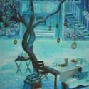 Téli piknik, Képzőművészet , Festmény, Olajfestmény, Festészet, 40X30 méretű olaj kép kasírozott vászon alapra festve. A képet fényes dámmarlakkal kezeltem, így id..., Meska