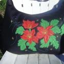 Képzeletem virágai - nagy pakolós táska, Táska, Ruha, divat, cipő, Válltáska, oldaltáska, Tarisznya, Varrás, Patchwork, foltvarrás, Egy kis különlegesség tőlem :) Saját képzeletem virágai kerültek erre a nagyméretű fekete textilbőr..., Meska