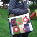"""""""Mozaik design"""" piros körökkel nagy női textilbőr táska., Táska, Ruha, divat, cipő, Baba-mama-gyerek, Válltáska, oldaltáska, Varrás, Patchwork, foltvarrás, """"Mozaik design"""" névre hallgató táskáim egyik darabját nézegeted éppen :)  Nagyméretű,színes,trendi,..., Meska"""