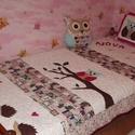 Kislány baglyos ágytakaró szett, Baba-mama-gyerek, Otthon, lakberendezés, Gyerekszoba, Falvédő, takaró, Patchwork, foltvarrás, Varrás, Kislányok igényeinek megfelelő ágytakaró, mely színében passzol a kialakított szobához.  A takaró e..., Meska